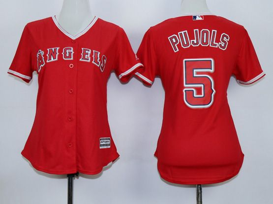 Women  Mlb Los Angeles Angels #5 Pujols Red Jersey