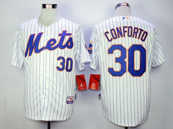 Mens Mlb New York Mets #30 Conforto White (blue Strip) Jersey