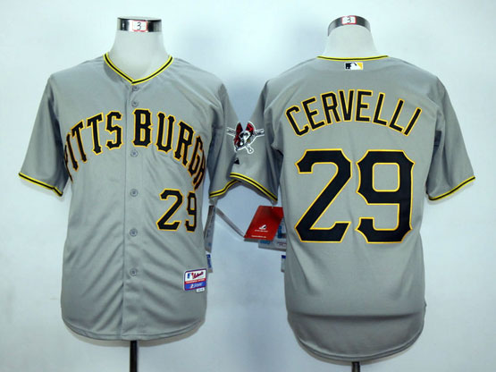 Mens Mlb Pittsburgh Pirates #29 Cervelli Gray Jersey
