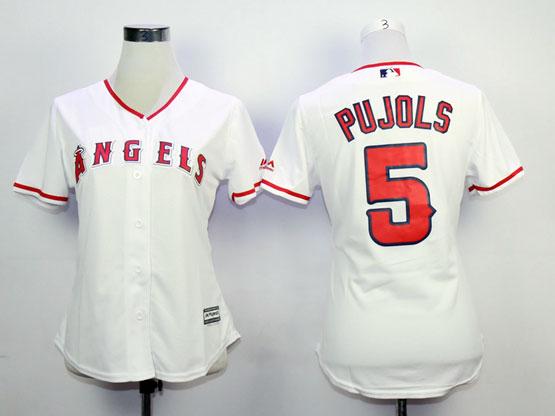 Women  Mlb Los Angeles Angels #5 Pujols White Jersey