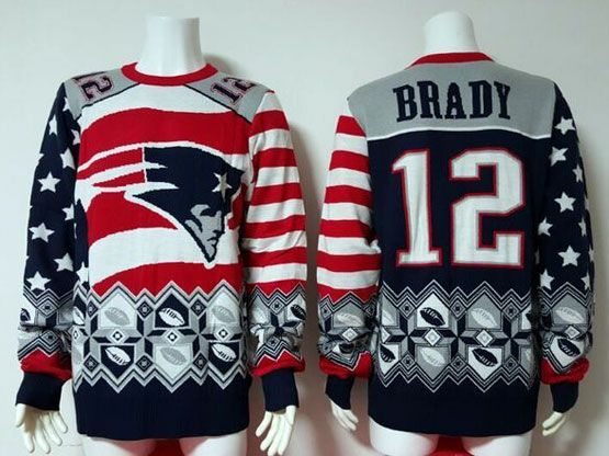 Mens Nfl New England Patriots #12 Brady Blue Crew Neck Pullover Ugly Sweater