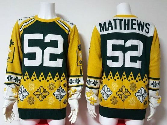 Mens Nfl Green Bay Packers #52 Matthews Green Crew Neck Pullover Ugly Sweater