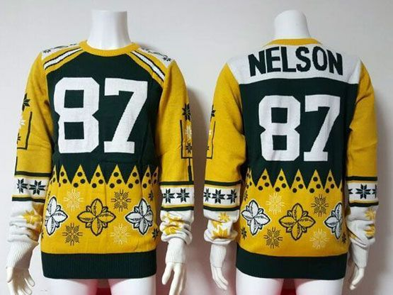 Mens Nfl Green Bay Packers #87 Nelson Green Crew Neck Pullover Ugly Sweater