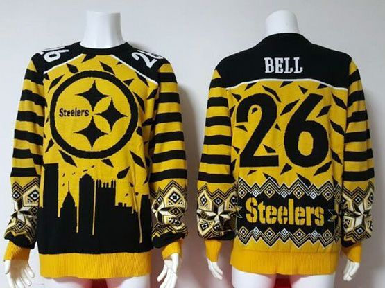 mens nfl Pittsburgh Steelers #26 Le'veon Bell yellow crew neck pullover ugly sweater