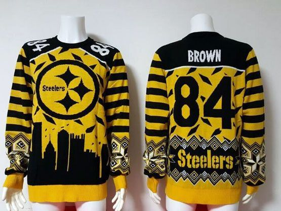 mens nfl Pittsburgh Steelers #84 Antonio Brown yellow crew neck pullover ugly sweater