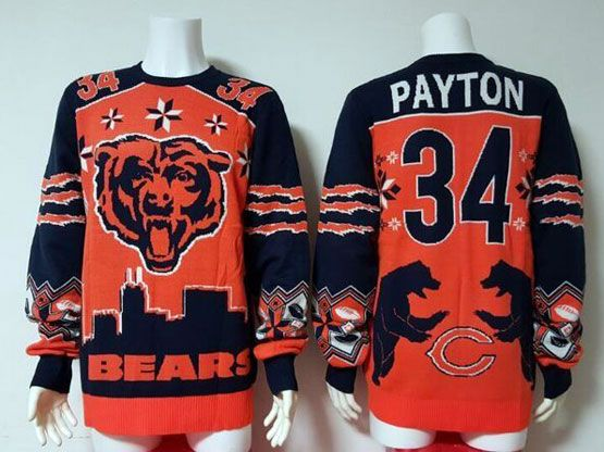 Mens Nfl Chicago Bears #34 Payton Orange Crew Neck Pullover Ugly Sweater