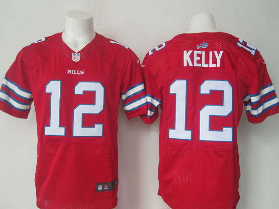 mens nfl Buffalo Bills #12 Jim Kelly red elite jersey