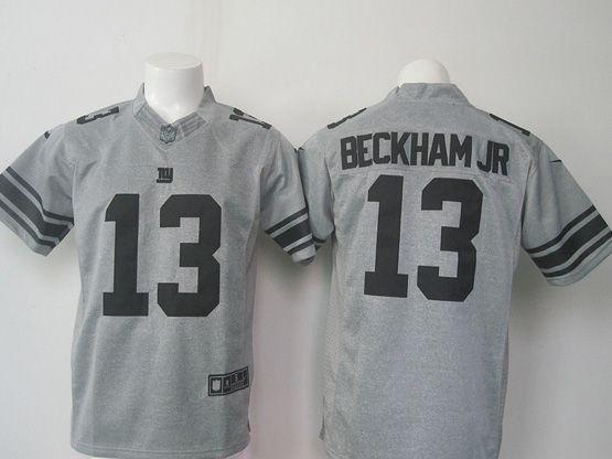 mens nfl New York Giants #13 Odell Beckham Jr gray (black number) limited jersey