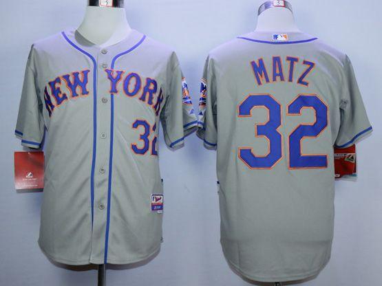 Mens Mlb New York Mets #32 Matz Gray Jersey