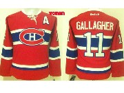 Women Reebok Nhl Montreal Canadiens #11 Gallagher Red (ch) Lacing Jersey