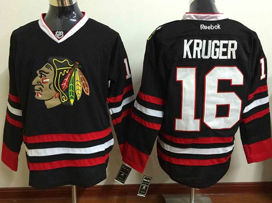 Mens Reebok Nhl Chicago Blackhawks #16 Kruger (full Black) 3rd Jersey