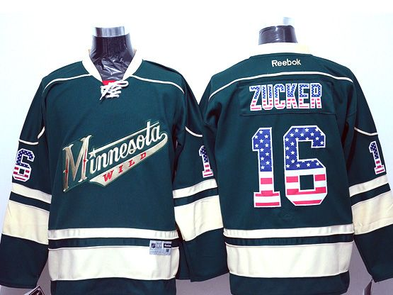 Mens Reebok Nhl Minnesota Wild #16 Zucker Green (usa Flag Fashion) Jersey