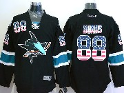 Mens Reebok Nhl San Jose Sharks #88 Burns Black (usa Flag Fashion) Jersey
