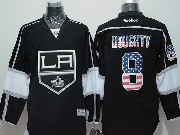 Mens Reebok Nhl Los Angeles Kings #8 Doughty Black (usa Flag Fashion) Jersey