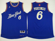 Mens Nba New York Knicks #6 Porzingis Blue Christmas Day Jersey