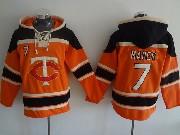 Mens Mlb Minnesota Twins #7 Mauer Orange Hoodie Jersey