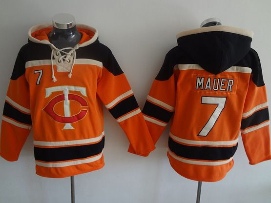 Mens Mlb Minnesota Twins #7 Mauer Orange Hoodie Jersey