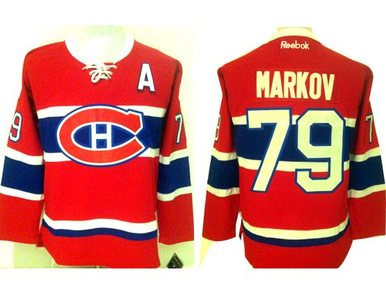 Mens Reebok Nhl Montreal Canadiens #79 Markov Red (ch) Lacing Jersey