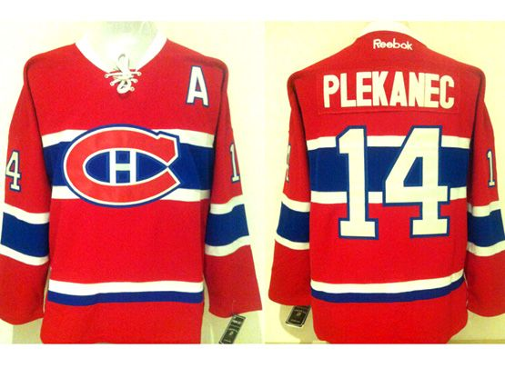 Mens Reebok Nhl Montreal Canadiens #14 Plekanec Red (ch) Lacing Jersey