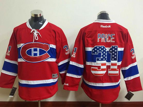 mens reebok nhl Montreal Canadiens #31 Carey Price red (usa flag fashion) jersey