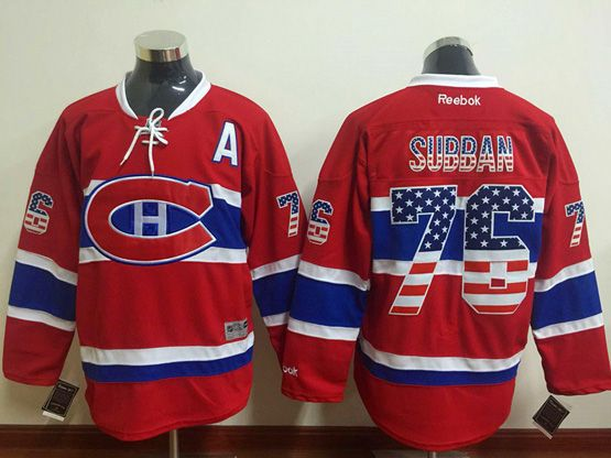Mens Reebok Nhl Montreal Canadiens #76 Subban Red (usa Flag Fashion) Jersey