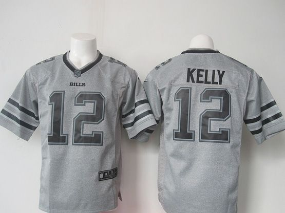 Mens Nfl Buffalo Bills #12 Jim Kelly Gray (black Number) Limited Jersey