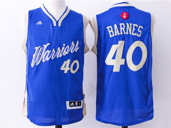 Mens Nba Golden State Warriors #40 Barnes Blue (2016 Christmas) Jersey