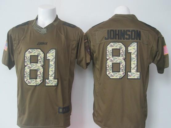 Mens Nfl Detroit Lions #81 Johnson Green Salute To Service Limited Jersey