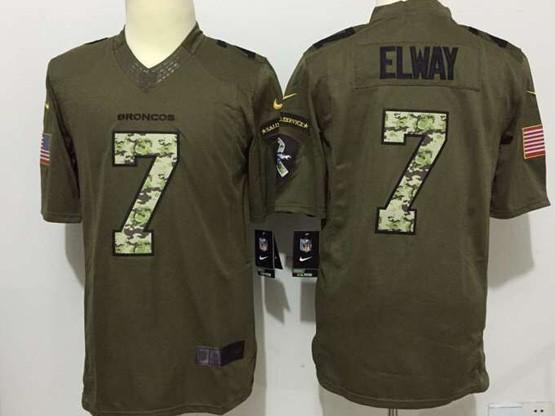 Mens Nfl Denver Broncos #7 Elway Green Salute To Service Limited Jersey