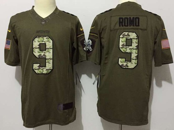 Mens Nfl Dallas Cowboys #9 Romo Green Salute To Service Limited Jersey
