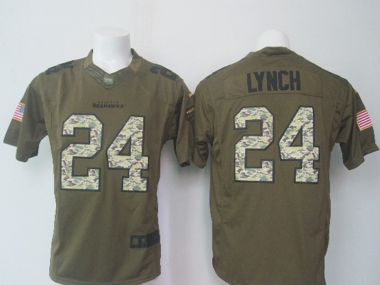 Mens Nfl Seattle Seahawks #24 Lynch Green Salute To Service Limited Jersey