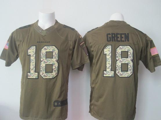 mens nfl Cincinnati Bengals #18 AJ Green green salute to service limited jersey