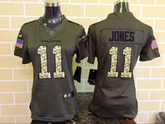 Women  Nfl Atlanta Falcons #11 Jones Green Salute To Service Limited Jersey