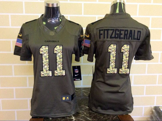 Women  Nfl Arizona Cardinals #11 Larry Fitzgerald Green Salute To Service Limited Jersey