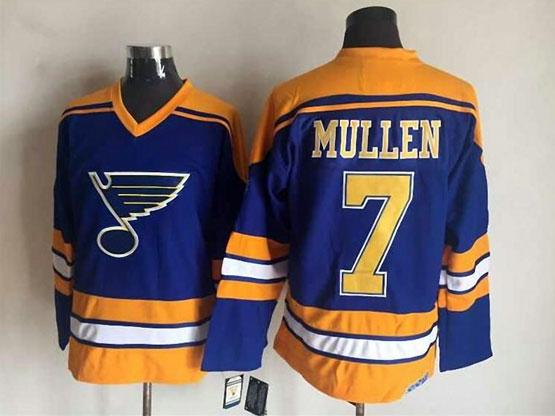 Mens nhl st.louis blues #7 mullen blue (diagonal stripes) throwbacks Jersey