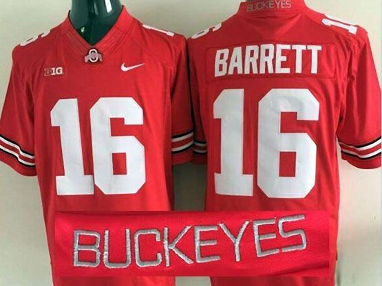 Mens Ncaa Nfl Ohio State Buckeyes #16 Barrett Red (collar Team Name) Jersey