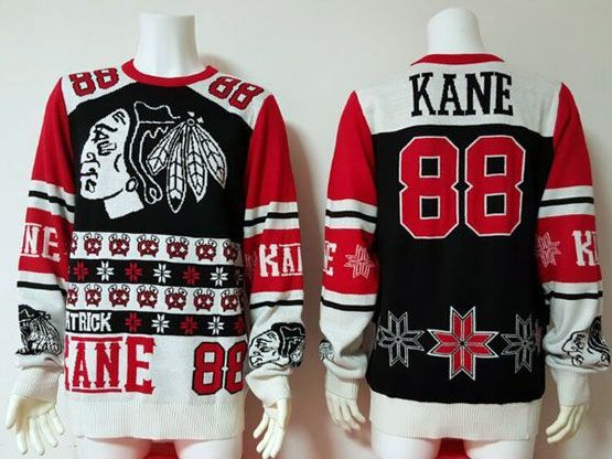 Mens Nhl Chicago Blackhawks #88 Kane Black Crew Neck Pullover Ugly Sweater