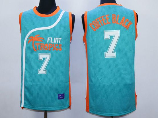 Mens Nba Movie Flint Tropics Semi Pro #7 Coffee Black Light Blue Jersey