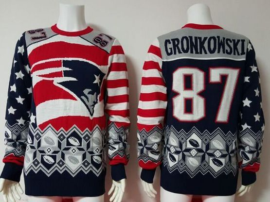 Mens Nfl New England Patriots #87 Gronkowski Blue Crew Neck Pullover Ugly Sweater