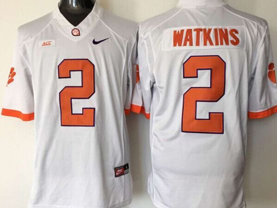 Mens Ncaa Nfl Clemson Tigers #2 Watkins White Limited Jersey