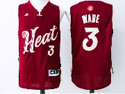 Mens Nba Miami Heat #3 Wade Red (2016 Christmas) Jersey