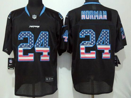 Mens Nfl Carolina Panthers #24 Norman Black (2014 Usa Flag Fashion) Elite Jersey