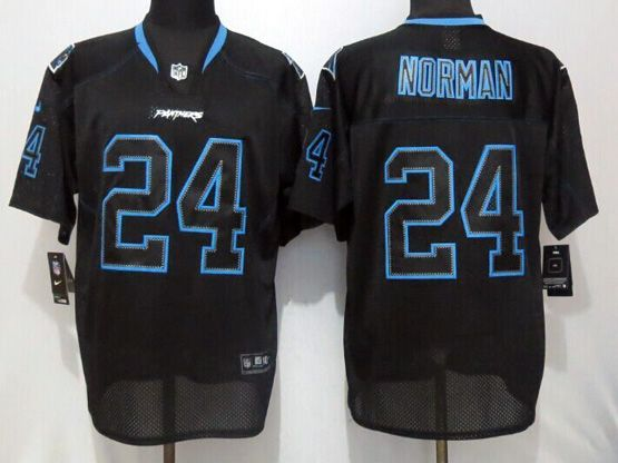 Mens Nfl Carolina Panthers #24 Norman Black (new Lights Out) Elite Jersey