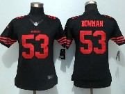 women  nfl San Francisco 49ers #53 NaVorro Bowman black (red number) limited jersey