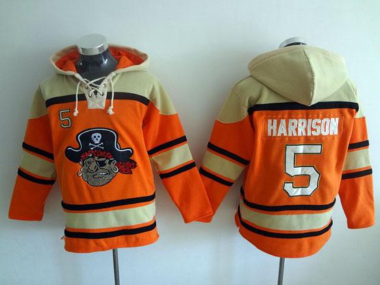 Mens Mlb Pittsburgh Pirates #5 Harrison Orange Hoodie Jersey