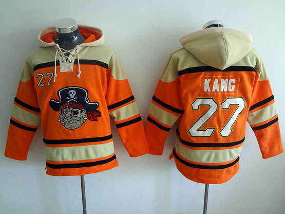 Mens Mlb Pittsburgh Pirates #27 Kang Orange Hoodie Jersey