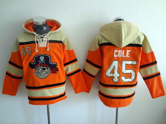 Mens Mlb Pittsburgh Pirates #45 Cole Orange Hoodie Jersey