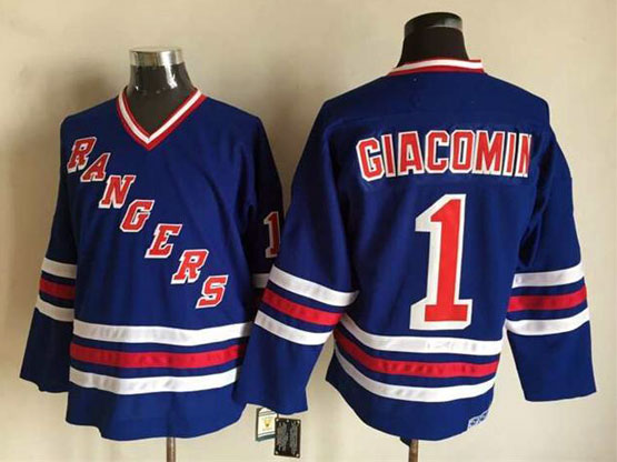 Mens Nhl New York Rangers #1 Giacomin Light Blue (2015 New No Cord) Throwbacks Jersey