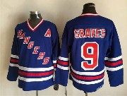 Mens Nhl New York Rangers #9 Graves Light Blue (2015 New No Cord) Throwbacks Jersey