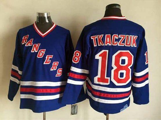 Mens Nhl New York Rangers #18 Tkaczuk Light Blue (2015 New No Cord) Throwbacks Jersey